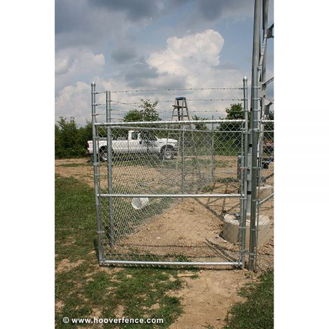 "Hoover Fence Commercial Chain Link Single Gates, All 1-5/8"" Galvanized HF20 Frame - With Barbed Wire"