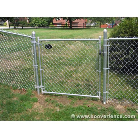 "Hoover Fence Residential Chain Link Fence Single Swing Gates - 1-3/8"" Galvanized Frame"