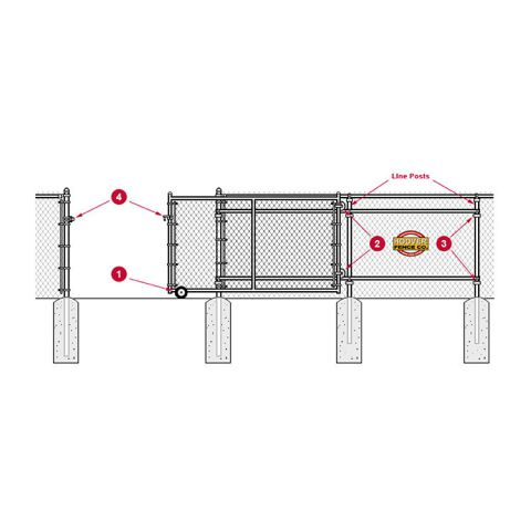 """Hoover Fence Commercial Chain Link Rolling Gates, All 1-5/8"""" Galvanized HF20 Frame"""