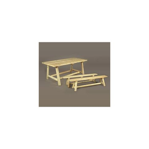 Rustic Cedar Furniture Classic Farmer's Table and Bench Set - 3 pieces