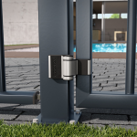 Locinox PUMA Compact 2-Way Adjustable Surface Mounted Hinge - Mounted on Ornamental Gate