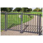 Locinox KEYDROP - Locking Drop Bolts with Cylinder Installed on Double Ornamental Metal Swing Gate