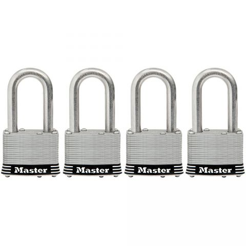 "Master Lock 1-3/4"" Laminated Stainless Steel Pin Tumbler Padlock, 4-pack"