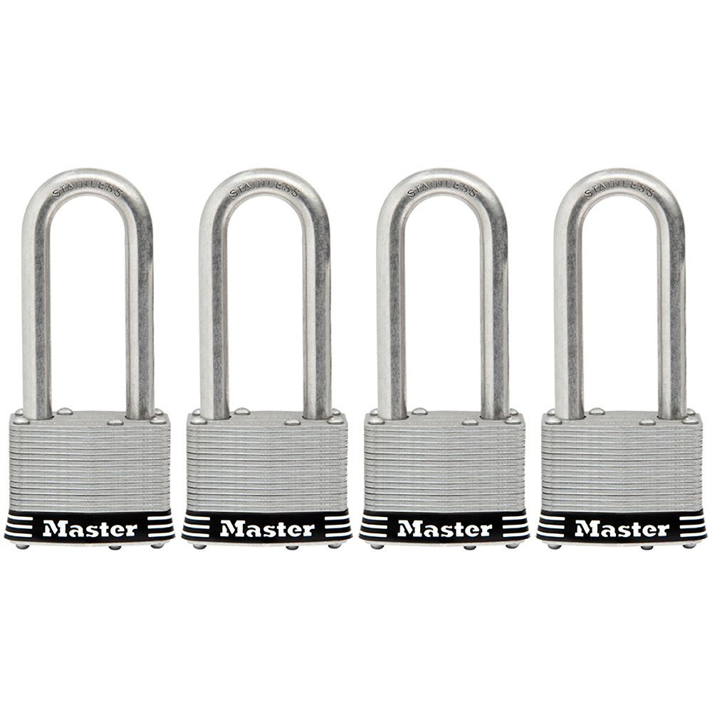 "Master Lock 2"" Laminated Stainless Steel Pin Tumbler Padlock, 4-pack"