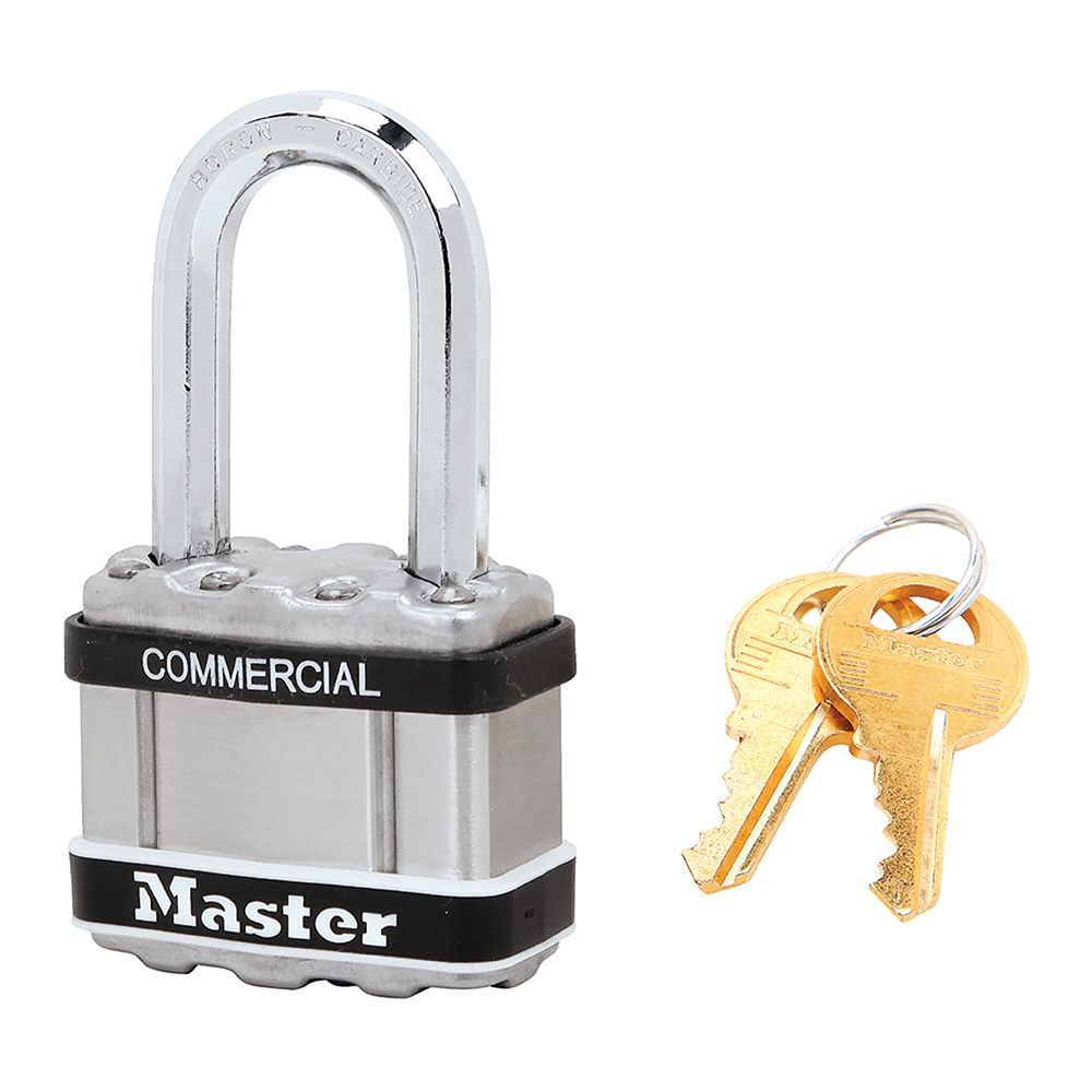 "Master Lock 1-3/4"" Commercial Magnum Laminated Steel Padlock with Stainless Steel Body Cover"