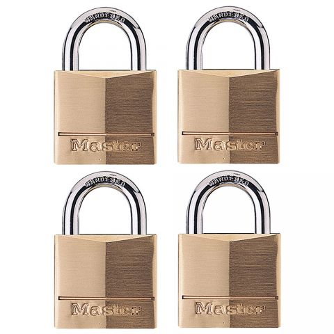 "Master Lock 1-9/16"" Solid Brass Body Padlock, 4-pack"