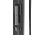 Locinox Tiger Compact Hinge and Hydraulic Gate Closer Set Installed on Post - Silver Finish