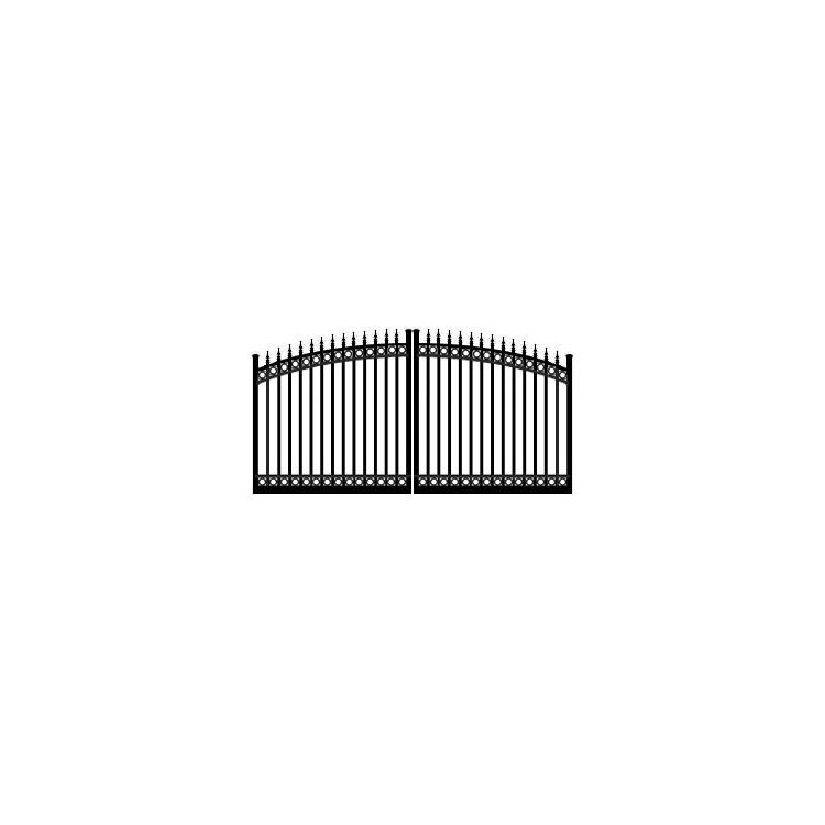 Ideal #8610 Double Swing Estate Gate, with Finials and Top & Bottom Rings