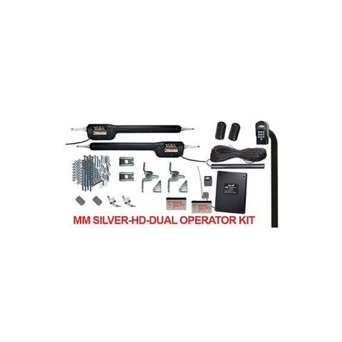 Mighty Mule SILVER-HD-DUAL Kit - Heavy Duty Gate Operator Kit for Double Gates - 850 lbs. / 18 ft. Each Gate