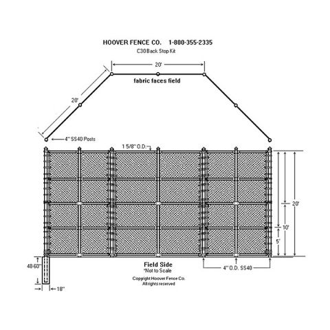 Hoover Fence C-30 Backstop Kit, 20' wide, 20' wings, 20' high