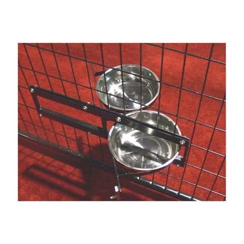 Jewett-Cameron Lucky Dog Turn-Style Bowl Holder w/2 Stainless Steel Bowls