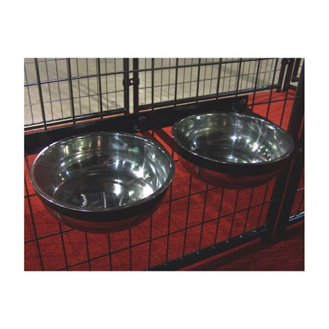 Jewett-Cameron Lucky Dog Stationary Bowl Holder w/2 Stainless Steel Bowls