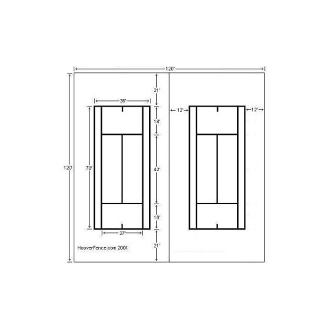 Hoover Fence Double Tennis Court Chain Link Fencing Kit - Galvanized