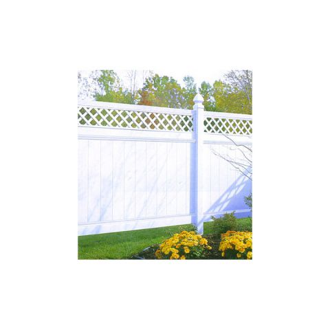 Bufftech Chesterfield Vinyl Fence Sections - Lattice Accent