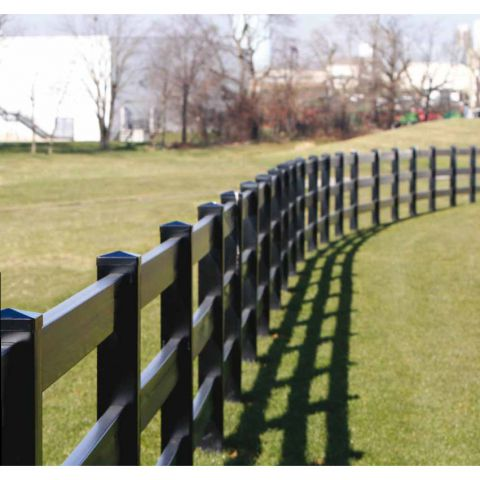 "Superior Post and Rail Fence Section (2"" x 6"" Rails) - Black"