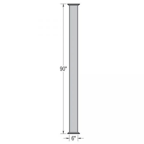 "Superior 6"" x 90"" Plain Pergola Post (Hollow - No Plates)"