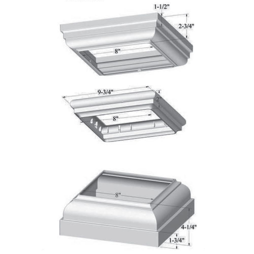 "Superior 8"" Square Column Trim Set (top, middle & bottom)"