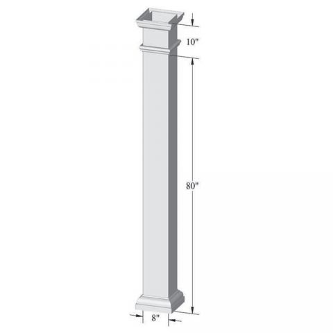 "Superior 8"" x 90"" Square Pergola Column (Hollow - No Plates)"