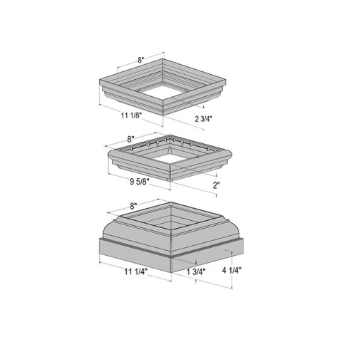 Superior Top/Bottom Bases and Center Trim for Square Column Post