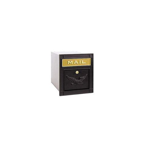 Column Mailbox, with slot, black, eagle door, lock with 2 keys