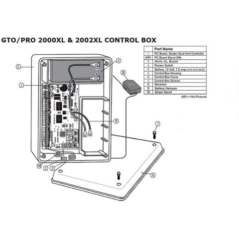 GTO Loaded Control Box w/Board and Receiver for 2000XLS Series Operators
