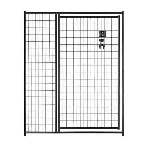 Jewett-Cameron Lucky Dog Black Welded Wire Kennel Panels with Gate