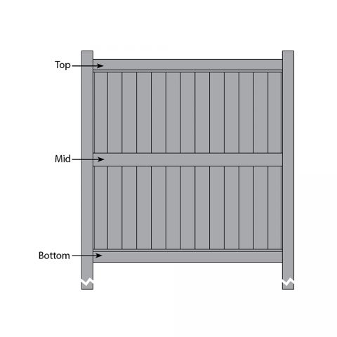Bufftech Galveston Fence - Replacement Rails