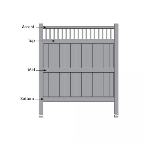 Bufftech Galveston w/ Victorian Accent Fence - Replacement Rails