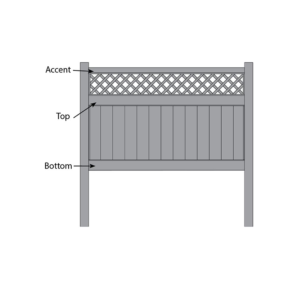 Bufftech Chesterfield w/ Lattice Accent Fence - Replacement Rails