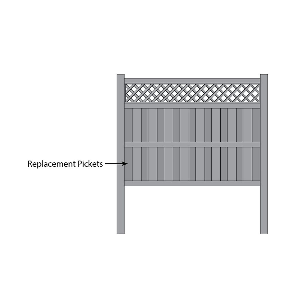 Bufftech Columbia w/ Lattice Accent Fence - Replacement Pickets