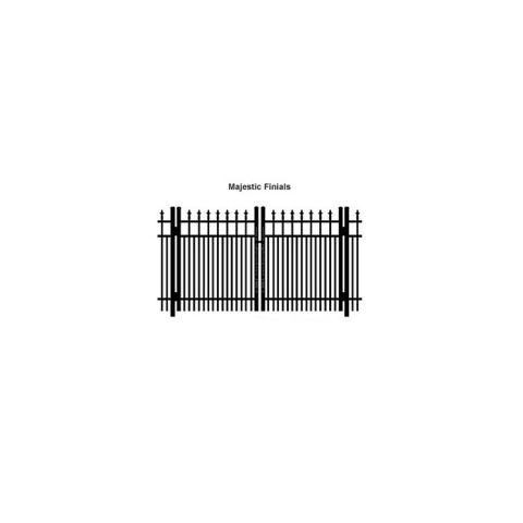 Ideal Finials #600 Aluminum Double Swing Gate - Double Picket