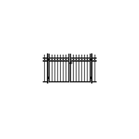 Jerith Kensington Plus Rings Aluminum Double Swing Gate w/Finials