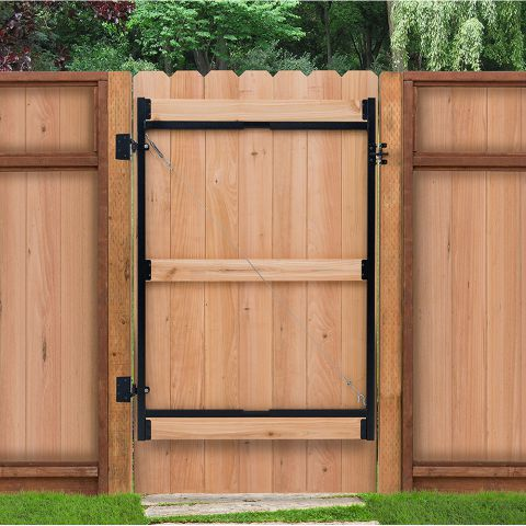 "Jewett-Cameron 3-Rail Single Adjust-A-Gate, 60""H x 36-72"" Widths, Black"