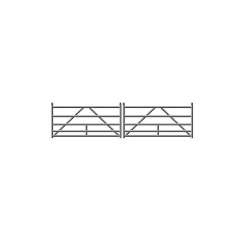 Hoover Fence G-Series Tubular Barrier Double Gate Kits - Galvanized Steel