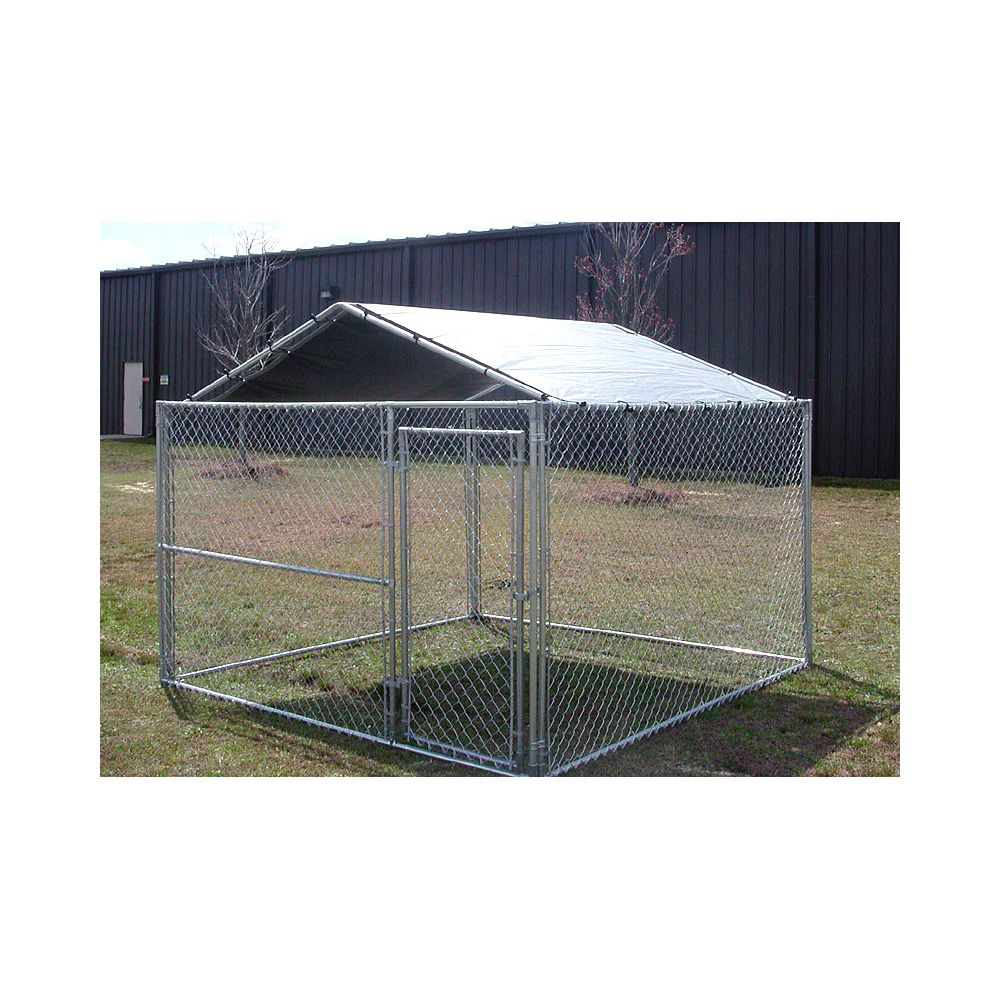 King Canopy 10' x 10' Kennel Cover - Silver - Clamps to Dog Kennel - 26 lbs.