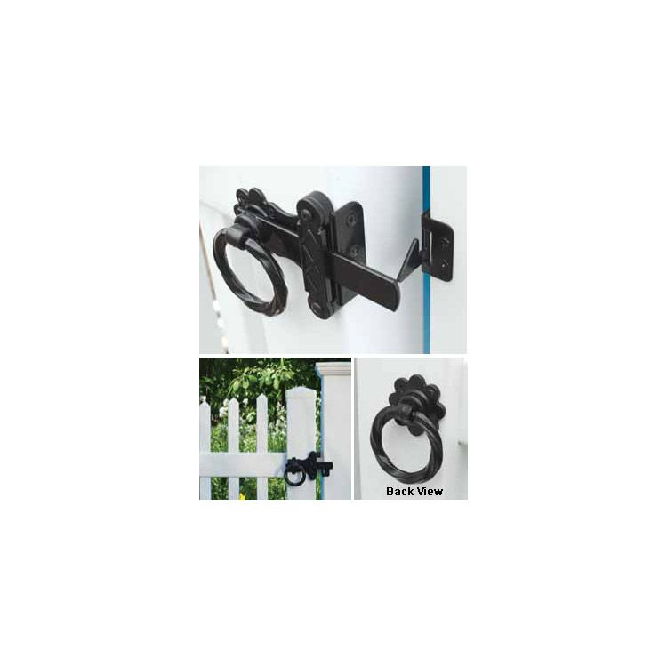 Twisted Ring Gate Latch, Twisted Ring Gate Latch With Wrap Around Plate