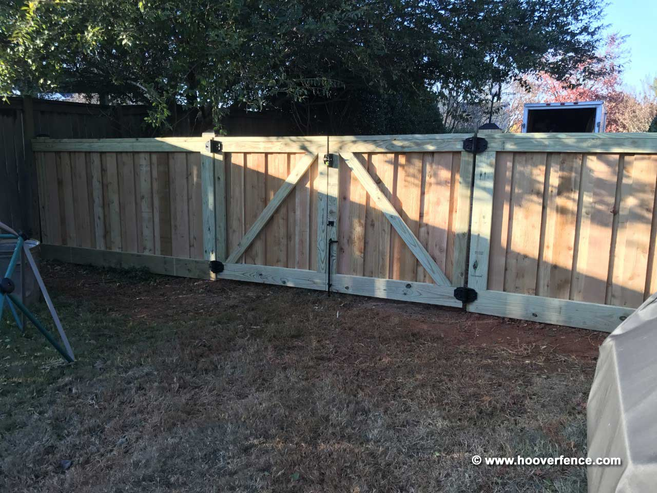Customer Install - Custom Wood Fence Privacy Fence and Gates Hung with D&D Hardware - Simpsonville, SC
