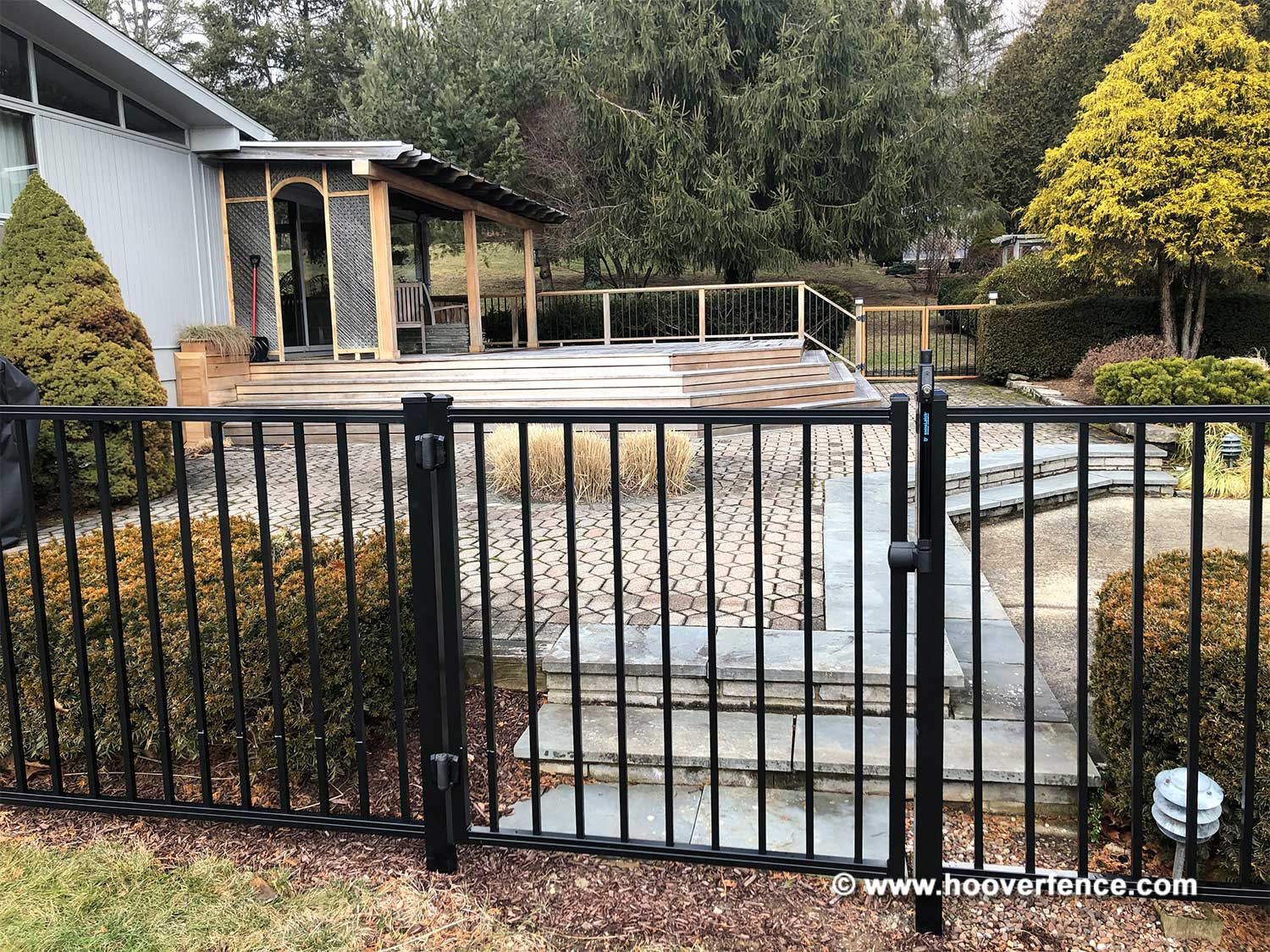 Customer Install - Black Metal Pool Gate Secured with D&D Technologies ML3TPKA Magna-latch Top Pull - Hebron, CT