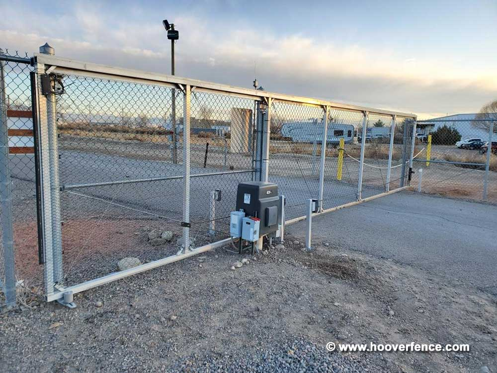 Customer Photo - Internal Track Chain Link Fence Cantilever Gate Installed with Hoover Fence Slide Gate Hardware - Montrose, CO