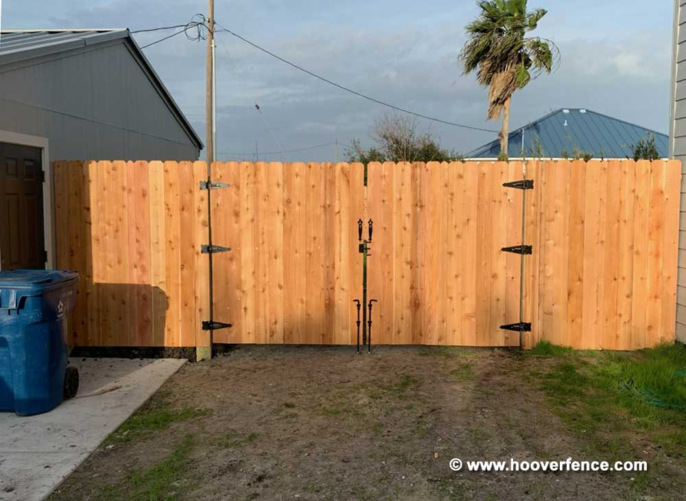 Customer Install - Double Drive Cedar Picket Gate Installed with Stainless Steel Hardware - Corpus Christi, TX