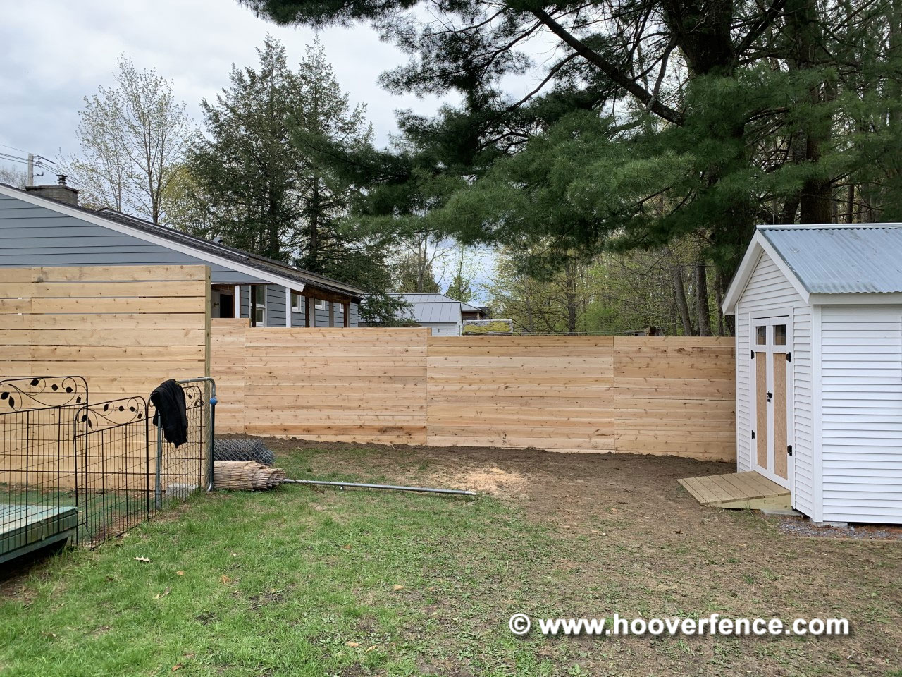 Customer Install - Chain Link Fence Converted to Horizontal Board Wood Privacy Fence - Burlington, VT