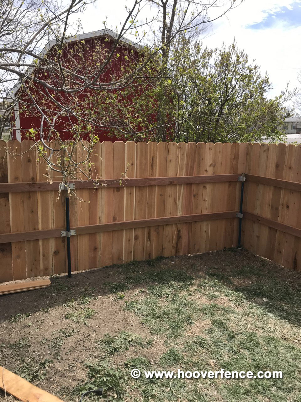Customer Install - 5' High Solid Dog-Ear Cedar Fence Installed with T-Posts and TWPA Adapters - Akron, CO