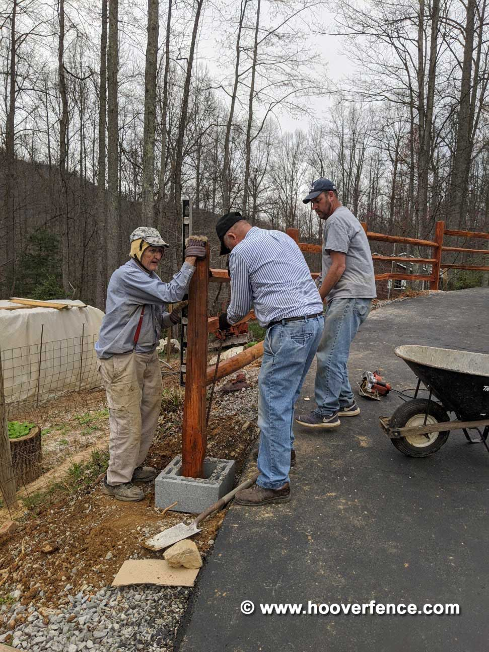 Customer Install - Stair Stepping 3-Rail Standard Western Red Cedar Split Rail Fence - Big Stone Gap, VA