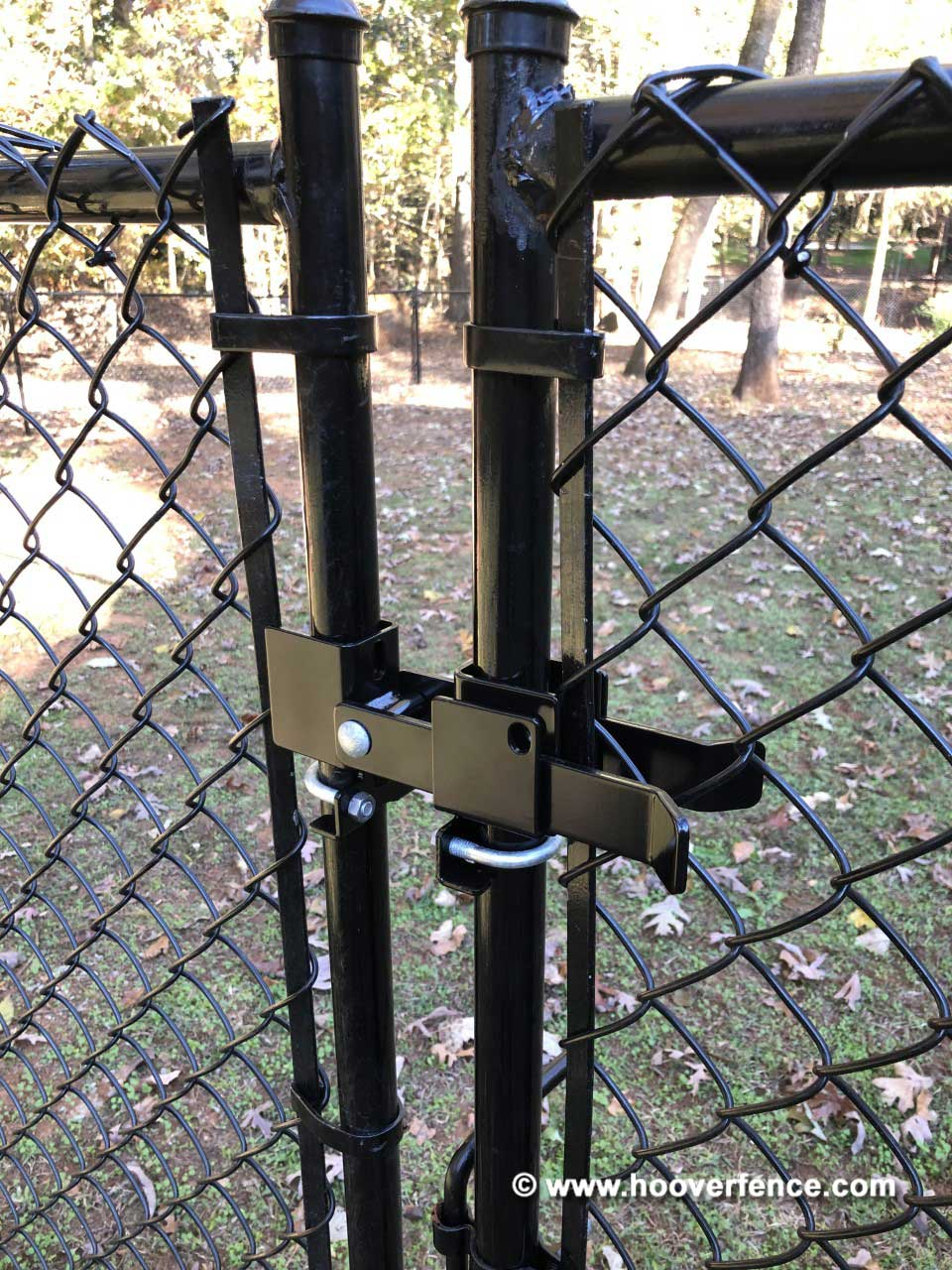 Customer Install - DAC-4138-B Installed on Black Chain Link Fence Double Swing Gate