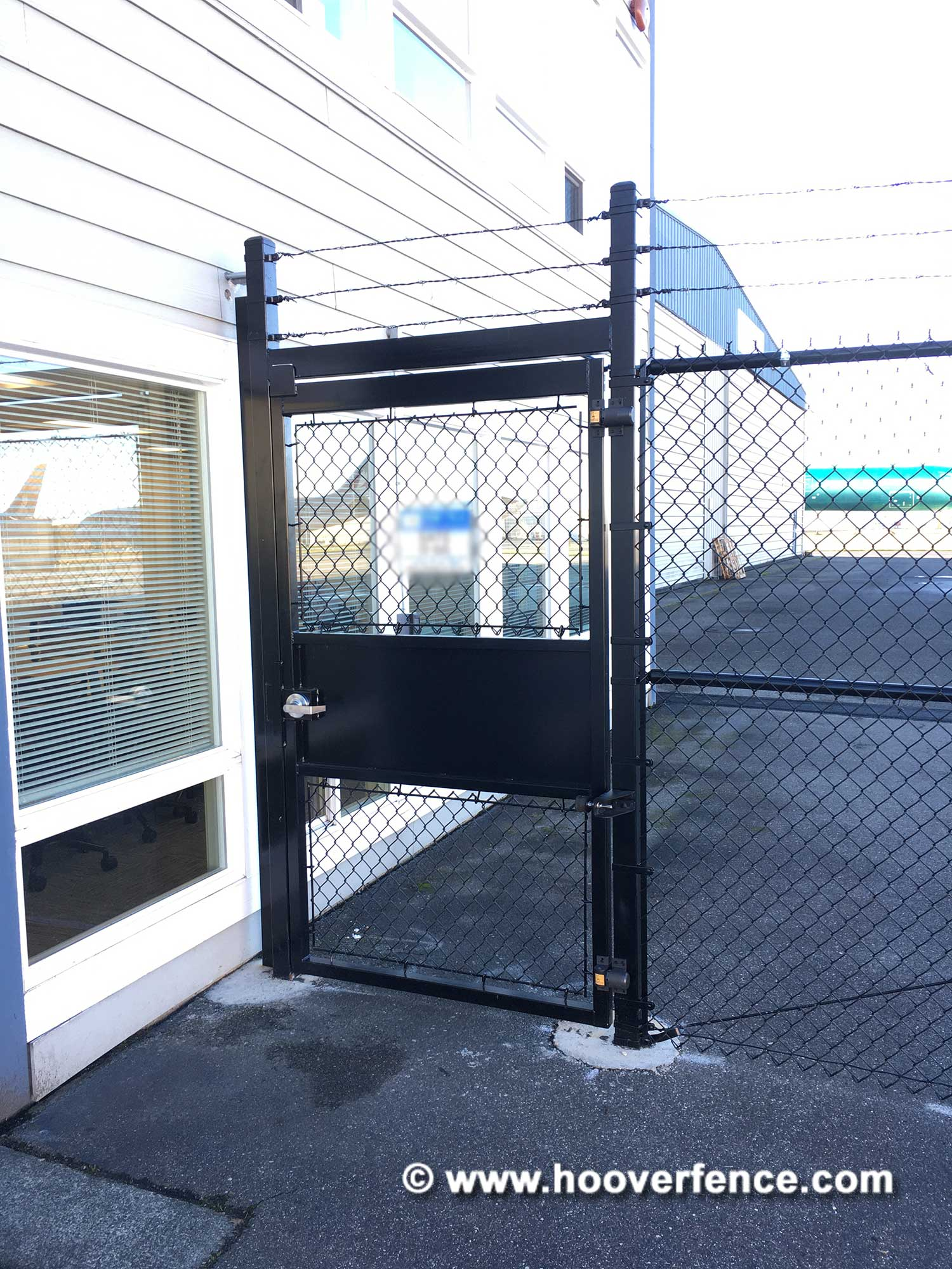 Customer Install - SureClose ReadyFit Hinge and Closer Installed on Black Chain Link Fence Gate with 7403 Gate Stop