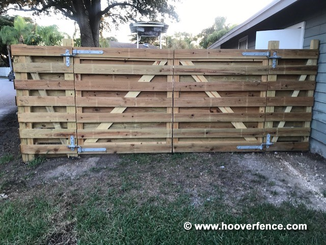 Customer Install - Custom Wood Gate Built and Installed Using Snug Cottage 8325-182, 8256-342, and FP-8256-G