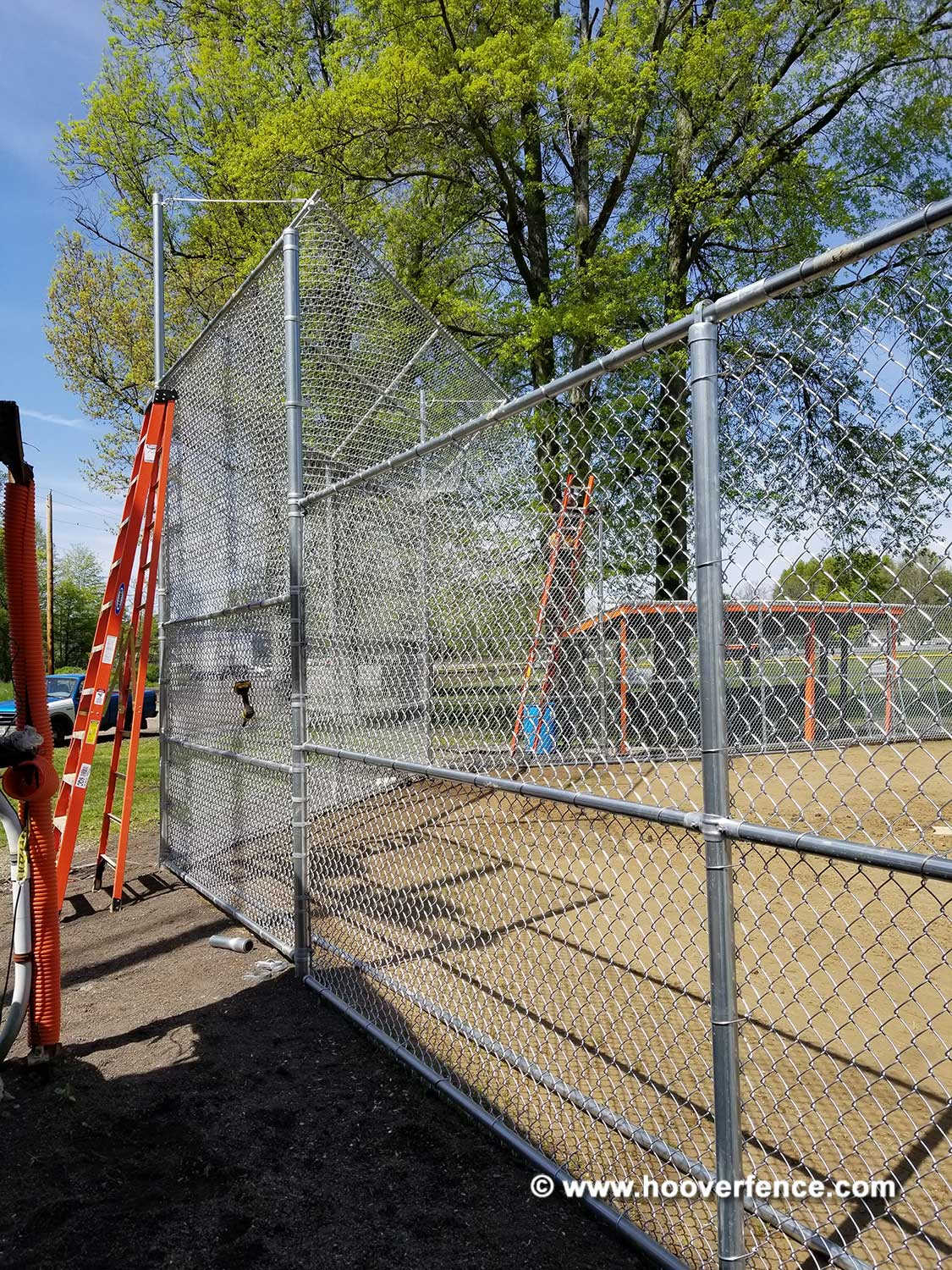 Hoover Fence Co Installation BS-F37 Backstop - Installing Canopy - Newton Falls, OH