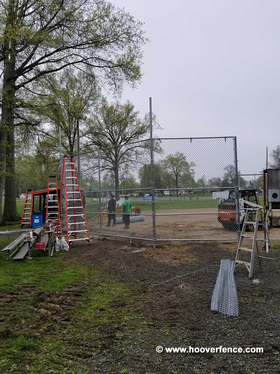 Hoover Fence Co Installation BS-F37 Backstop - Stretching Chain Link - Newton Falls, OH