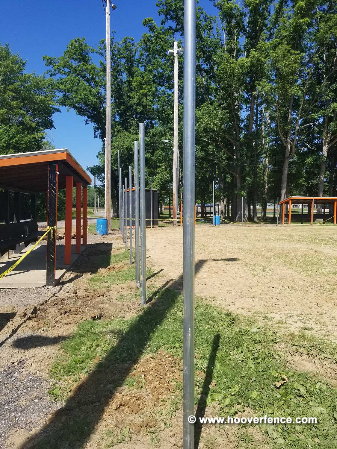 Hoover Fence Co Installation BS-F37 Baseball Backstop Post Setting - Newton Falls, OH