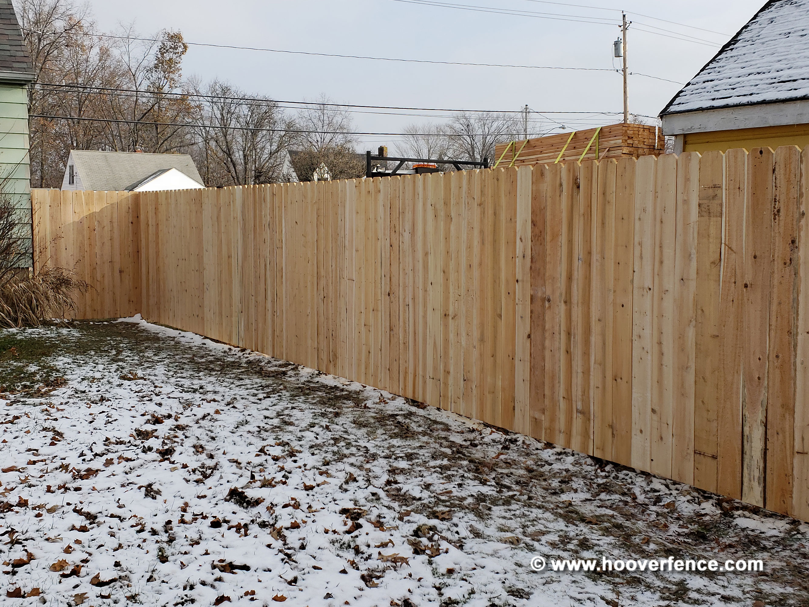 Solid Dog Ear Fence Install - Cedar - Steel Posts & IS-FBS Wood to Steel Brackets
